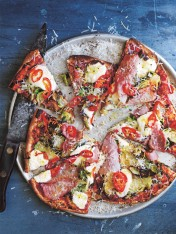 brussels sprouts, ham and ricotta pizza