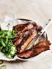 Buttermilk jalapeno and coriander char-grilled steaks