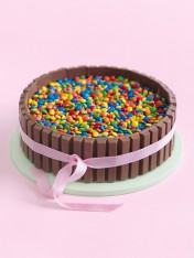 candy-filled chocolate cake