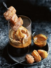 caramel affogato with cinnamon churros