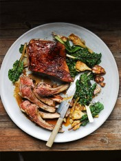 caramelised lamb racks with silverbeet and artichokes