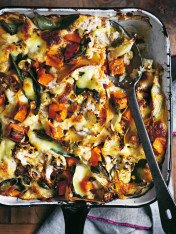 cauliflower and sweet potato lasagne with roast garlic cauliflower bechamel
