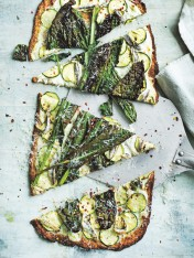 cauliflower crust pizzas with zucchini and cavolo nero