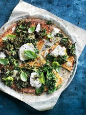 cauliflower pizzas with mozzarella, kale and lemon