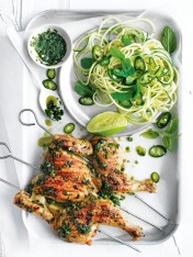 char-grilled lemongrass and mint spatchcocks with zucchini noodles