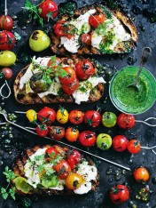 char-grilled tomato skewers with dill pesto and buffalo mozzarella bruschetta