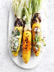 char-grilled corn with trio of toppings