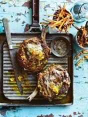 chargrilled steaks with piccalilli butter and sweet potato fries
