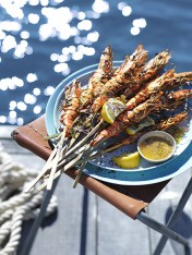 char-grilled prawns with miso ginger butter