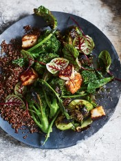 charred broccoli and brussels sprout salad with haloumi and red quinoa