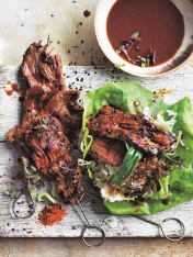 charred miso beef skewers with pickled cabbage slaw