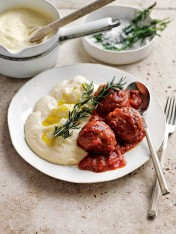 cheat's lamb meatballs and mash