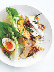 chicken caesar salad with parmesan crisps and creamy tofu dressing