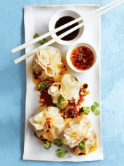 chicken, coriander and chilli jam dumplings