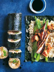 chicken kimchi sushi