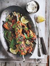 chicken skewers with chimichurri and quinoa salad