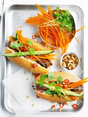 chilli and ginger pork meatball banh mi rolls