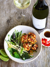 chilli jam chicken with green mango salad