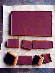 chocolate and miso caramel slice