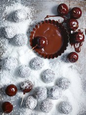 choc-cherry truffles with salted coconut