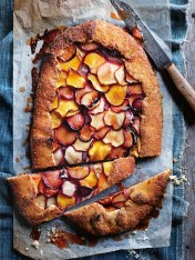 coconut and blistered stone fruit tart