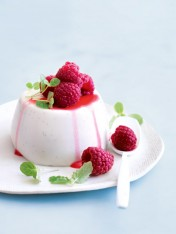 coconut and lime panna cotta with raspberries