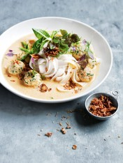 coconut laksa with coriander fish balls