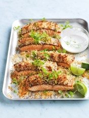 coconut salmon with coconut-lime dressing