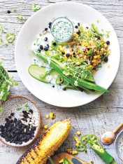 corn and cucumber salad with cracked freekeh