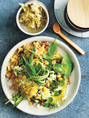 couscous, walnut and mint salad with sauerkraut