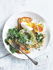 creamy quinoa and kale bowl with haloumi and soft-boiled egg