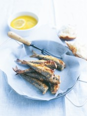 crispy sardines with lemon and mint