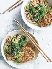 crispy pork with miso ginger soba noodles