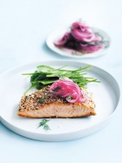 crispy salmon with dill pickled onions