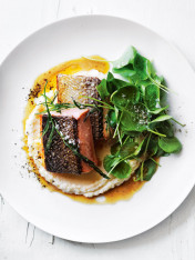 crispy-skin salmon with tarragon brown butter and celeriac almond puree