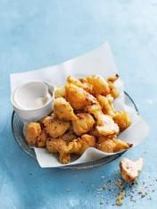crispy tahini cauliflower fritters