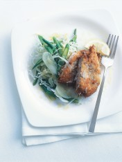 crumbed chilli chicken with winter slaw