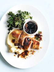 crumbed pork with apple and potato mash and kale chips