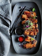 crumbed pork  with teriyaki dressing