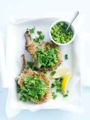 crumbed veal cutlets with minted peas