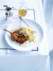 crunchy pork cutlet with cabbage slaw