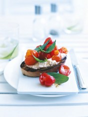 crushed cherry tomato and ricotta bruschetta