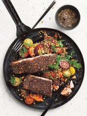 cumin, coriander and chia-crusted salmon with buckwheat salad