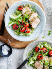 dukkah-crusted pork fillet with broccoli tabouli