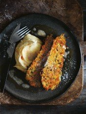 eggplant schnitzels with creamy mash and burnt butter