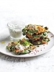 feta, silverbeet and chickpea fritters