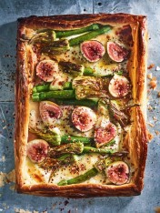 fig, goat's cheese and zucchini flower tart