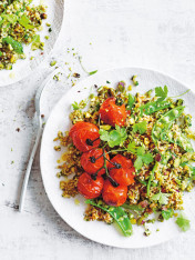 freekeh and pistachio tabouli with blistered cherry tomatoes