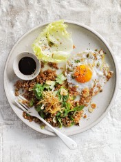 fried brown rice with lettuce cups