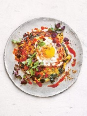 fried eggs with corn fritters and chilli sauce